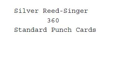 Silver Reed-Singer Standard Punchcards For Model 360