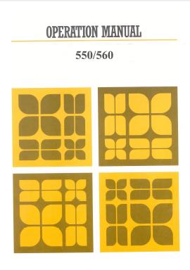Knitmaster 550-560 Operation Knitting Machine Instruction Manual