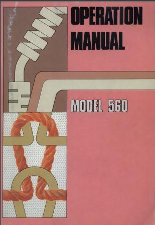 Singer 560 Knitting Machine Operation Manual