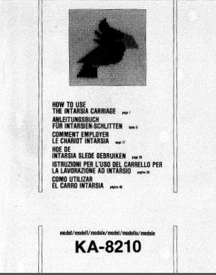 Brother KA8210 Intarsia Carriage User Guide