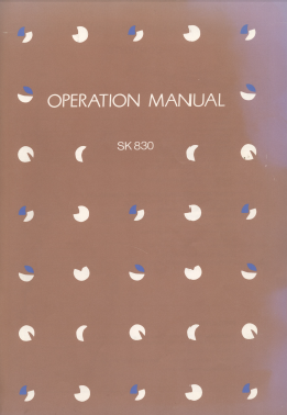 Silver Reed SK830 Operation Manual