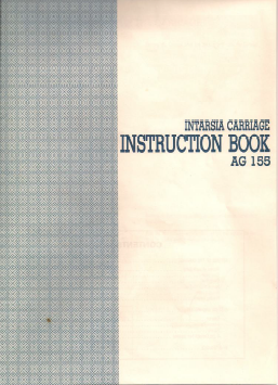 AG155 Intarsia Carriage User Manual