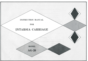 AG20 Intarsia Carriage User Manual