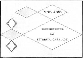 AG30 Intarsia Carriage User Manual