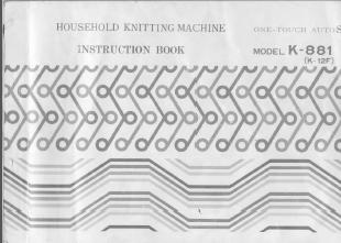 Juki K881 Knitting Machine Manual