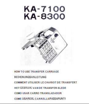 Brother KA7100 - KA8300 Transfer Carriage User Guide