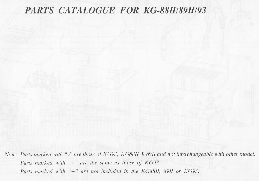 Brother KG88ii-KG89II-KG93 Parts Manual