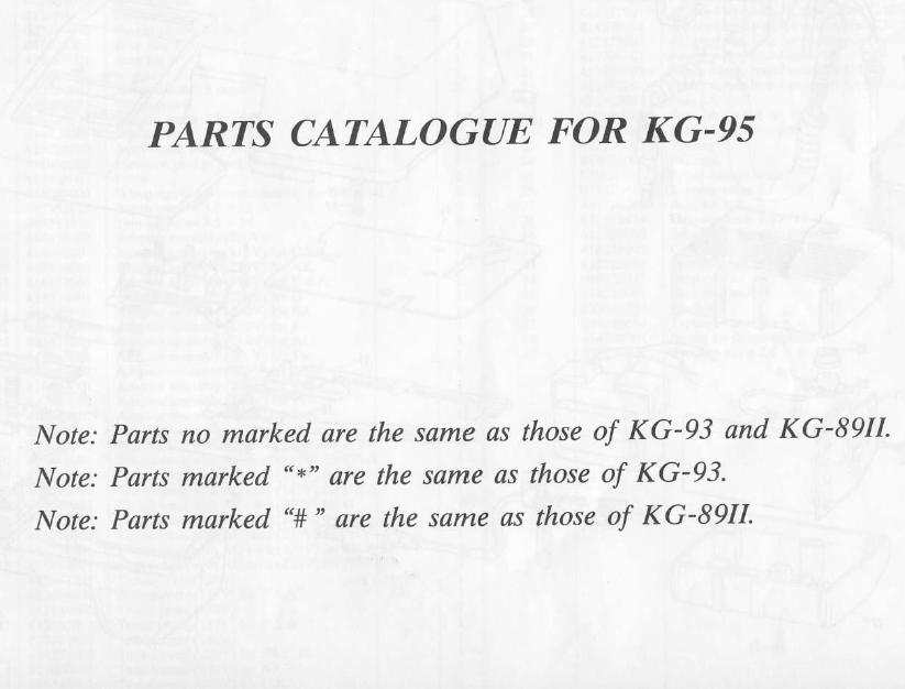 Brother KG95 Parts Manual