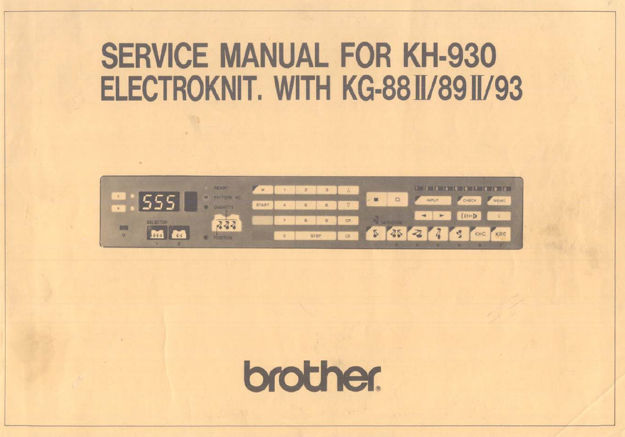 Brother KH930-Service Manual