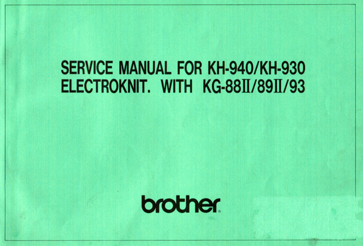 Brother KH940 Service Manual