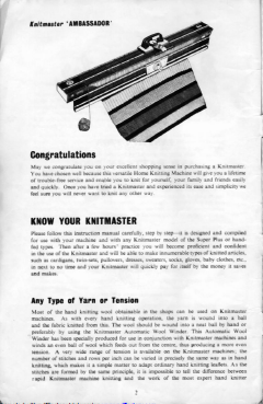 Knitmaster 4500 Knitting Machine Instruction Manual