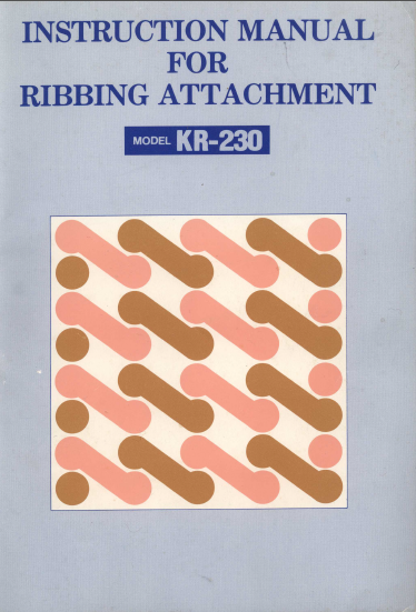 Brother KR230 Ribber User Guide