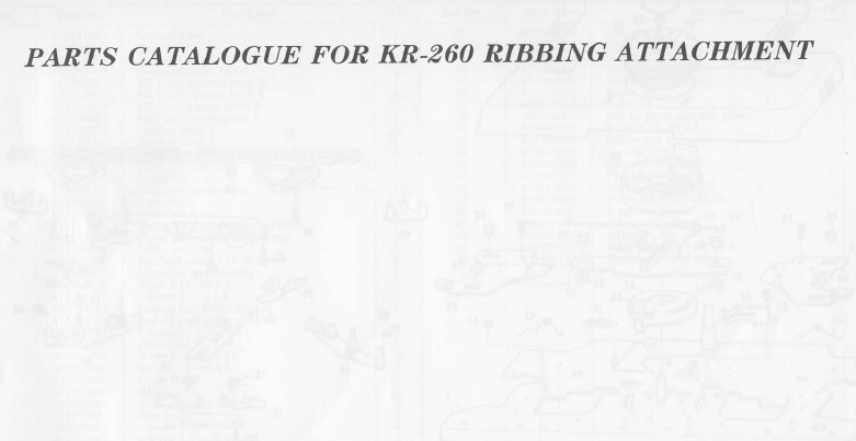 Brother KR260 Parts Manual