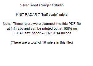 Silver Reed KR7 Stitch Scales