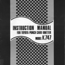 Toyota KS747 Knitting Machine User Manual