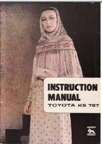 Toyota KS787 V1 Knitting Machine User Manual