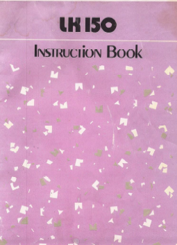 Singer LK150 Knitting Machine Instruction Manual