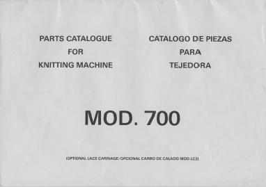 Knitmaster 700 Knitting Machine Parts Manual