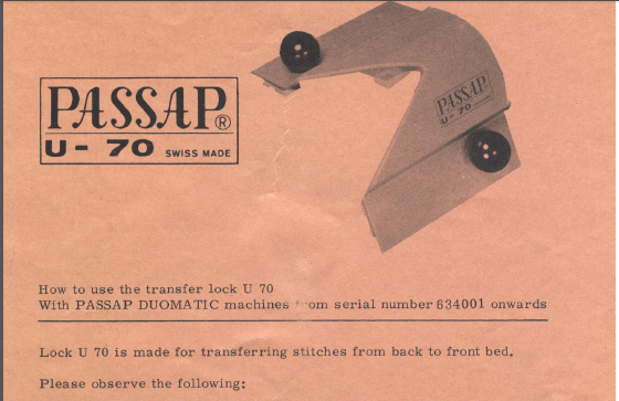 Passap U70 Transfer Carriage User Manual