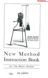 Home Profit Knitter New Method Instruction Book