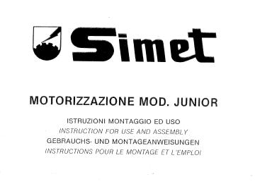 Simet Junior Motor Use And Assembly Manual