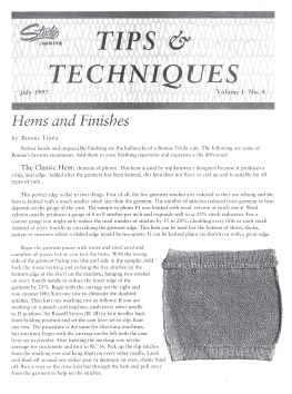 Studio Tips and Tricks V01 No.4 Hems and Finishes