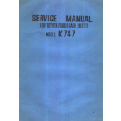 Toyota K747 Service Manual