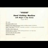 Vogue Knitting Machine NS5 User Manual