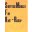 KnitRadar Knitting Machine Service Manual